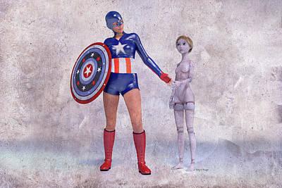 Super Girl Digital Art - Mary Jane Meets A Superhero 101d Betsy Knapp by Betsy Knapp