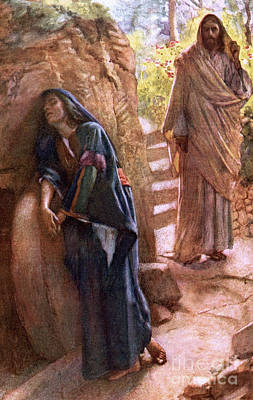 New Testament Drawing - Mary Magdalene At The Sepulchre by Harold Copping