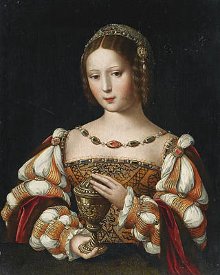 Master Of The Female Half-lengths Painting - Mary Magdalene Holding The Unguent Jar by The Master of the Female Half-lengths