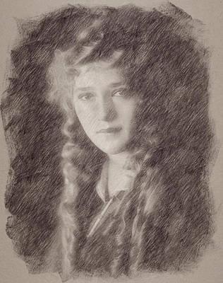Celebrities Paintings - Mary Pickford by Esoterica Art Agency