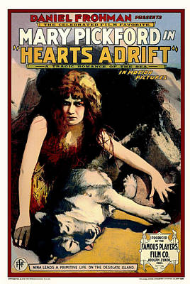 Silent Movie Star Mixed Media - Mary Pickford In Hearts Adrift 1914 by Mountain Dreams