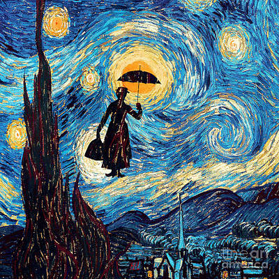 Fandom Drawing - Mary Poppins Starry Night Oil Painting by Three Second