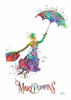 Disney Digital Art - Mary Poppins Watercolor Print Mary Poppins Watercolor Print Llustrations Kid's Room Wall Poster Gicl by Svetla Tancheva