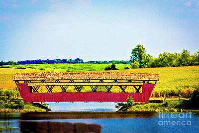 Dainty Daisies - Mary Ruffner Covered Bridge Perry County Ohio by Robert Gardner
