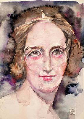 Painting - Mary Shelley - Watercolor Portrait by Fabrizio Cassetta