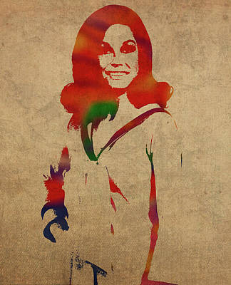 Moore Wall Art - Mixed Media - Mary Tyler Moore Watercolor Portrait by Design Turnpike