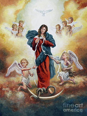 Painting - Mary Untier Of Knots by Joey Agbayani