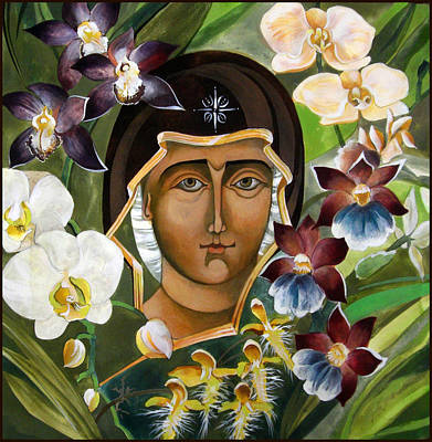 Mary With Orchids Art Print by Mary jane Miller
