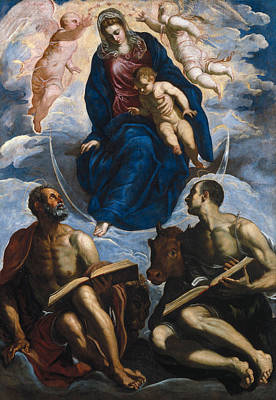 Child Jesus Painting - Mary With The Child, Venerated By St. Marc And St. Luke by Tintoretto