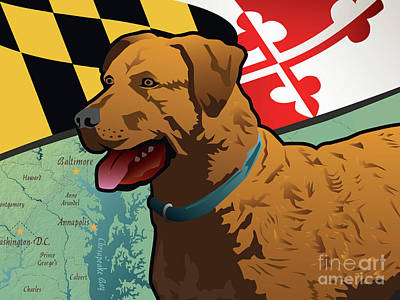 Digital Art - Maryland Chesapeake Bay Retriever  by Joe Barsin