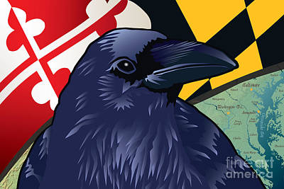 Raven Digital Art - Maryland Citizen Raven by Joe Barsin