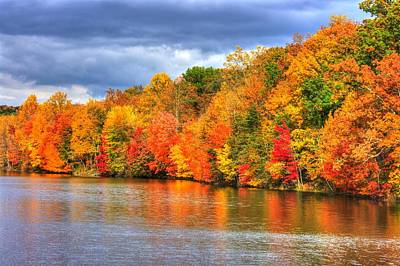 Maryland Country Roads - Autumn Colorfest No. 10 - Lake Linganore Frederick County Md Art Print by Michael Mazaika