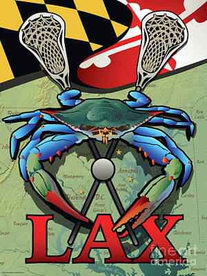 Digital Art - Maryland Lax Blue Crab Crest by Joe Barsin