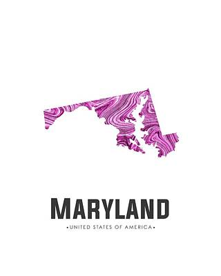 Mixed Media - Maryland Map Art Abstract In Purple by Studio Grafiikka