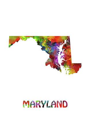 Oriole Digital Art - Maryland Map Watercolor by Bekim Art