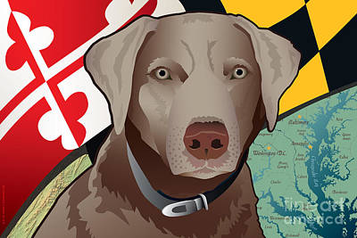 Labrador Digital Art - Maryland Silver Lab by Joe Barsin