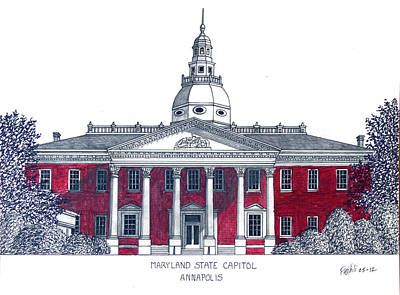 Capitol Building Mixed Media - Maryland State Capitol by Frederic Kohli
