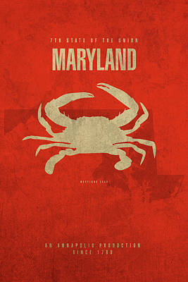 Cake Mixed Media - Maryland State Facts Minimalist Movie Poster Art by Design Turnpike