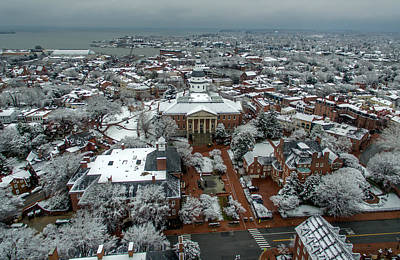 Photograph - Maryland State House Snow by Mid Atlantic Aerial