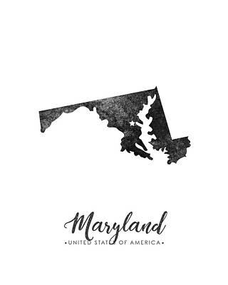 Geography Mixed Media - Maryland State Map Art - Grunge Silhouette by Studio Grafiikka