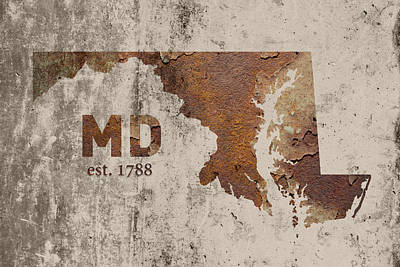 Maryland State Map Industrial Rusted Metal On Cement Wall With Founding Date Series 027 Art Print by Design Turnpike