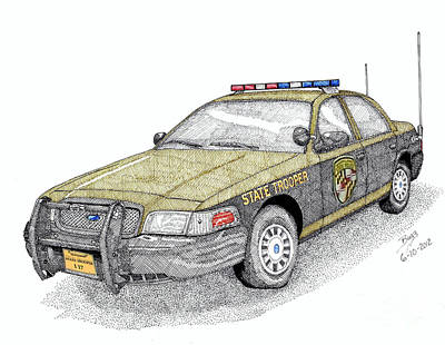 Maryland State Police Car Style 1 Art Print by Calvert Koerber