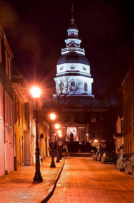 Photograph - Maryland Statehouse At Night by Dana Sohr