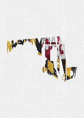 Crazy Digital Art - Maryland Typographic Map Flag by Inspirowl Design