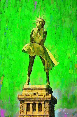 Pendant Digital Art - Marylin Liberty 1 - Da by Leonardo Digenio