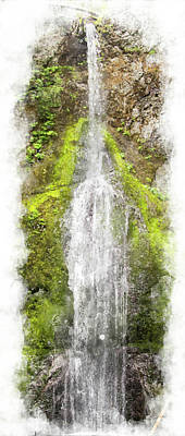 Digital Art - Marymere Falls Wc by Peter J Sucy