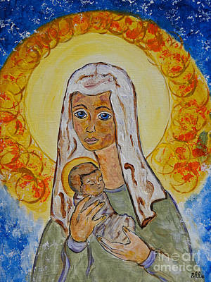 Painting - Mary's Baby The Light Of The World by Ella Kaye Dickey