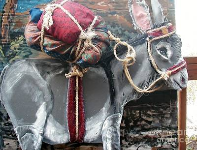 Donkey Mixed Media - Mary And Jesus Triumphant Ride by Susan Brown    Slizys art signature name