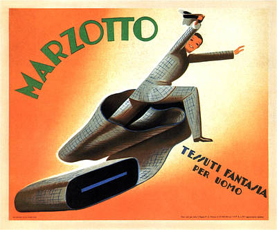 Mixed Media - Marzotto - Fabric For Men - Vintage Advertising Poster by Studio Grafiikka