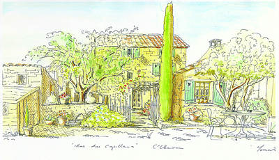Provence Drawing - Mas Des Capellan by Yvonne Ayoub