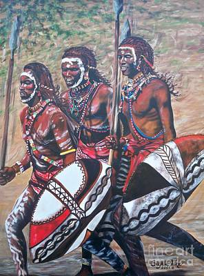 Painting - Blaa Kattproduksjoner       Masaai Warriors by Sigrid Tune