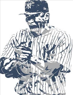 New York Yankees Mixed Media - Masahiro Tanaka New York Yankees Pixel Art 2 by Joe Hamilton