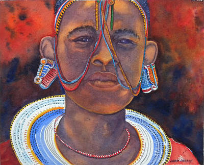 African Girl Painting - Masai Girl by Chuck Creasy