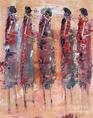 Masai Painting - Masai Girls 2 by Abu Artist