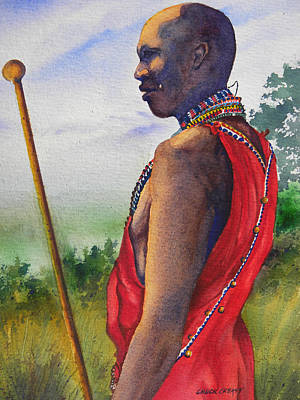Masai Painting - Masai Tribesman by Chuck Creasy