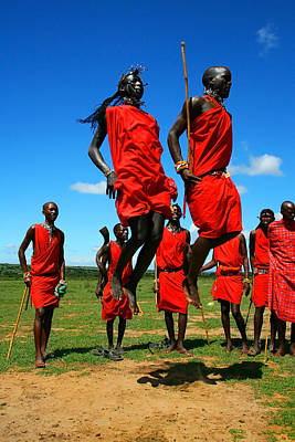 African Traditional Dances Photograph - Masai Warrior Dancing Traditional Dance by Anna Om