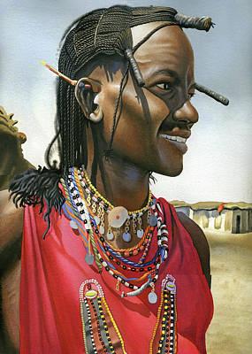Masai Painting - Masai Warrior by Rich Marks