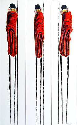 Painting - Masai Warrior Triptych - Original Artwork by Tracey Armstrong