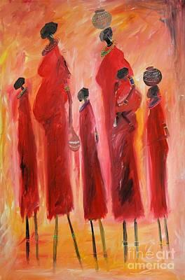 Masai Painting - Masai With Kids by Abu Artist