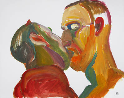 Painting - Masculine Kiss by Shungaboy X