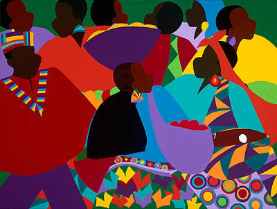 Painting - Masekelas Marketplace Congo by Synthia SAINT JAMES