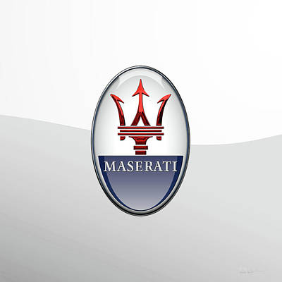 Digital Art - Maserati 3 D Badge Special Edition On White by Serge Averbukh