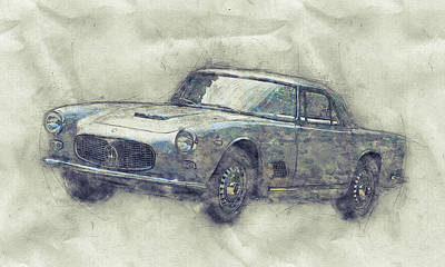 Mixed Media - Maserati 3500 Gt 1 - Grand Tourer - Maserati 3500 Gt Convertibile - Automotive Art - Car Posters by Studio Grafiikka