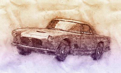 Mixed Media - Maserati 3500 Gt 2 - Grand Tourer - Maserati 3500 Gt Convertibile - Automotive Art - Car Posters by Studio Grafiikka