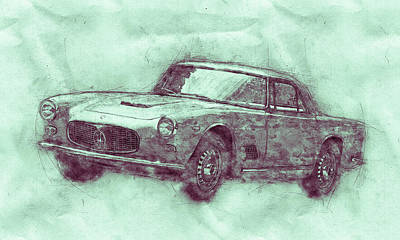 Mixed Media - Maserati 3500 Gt 3 - Grand Tourer - Maserati 3500 Gt Convertibile - Automotive Art - Car Posters by Studio Grafiikka