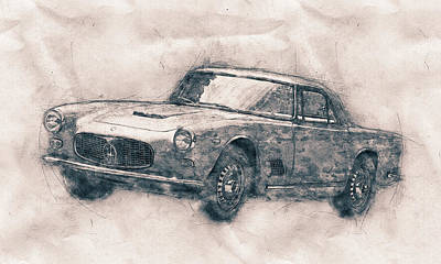 Mixed Media - Maserati 3500 Gt - Grand Tourer - Maserati 3500 Gt Convertibile - Automotive Art - Car Posters by Studio Grafiikka